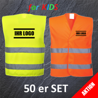 AKTION 50 er SET Kinder Warnweste Gelb oder Orange mit 1.fbg. Druck