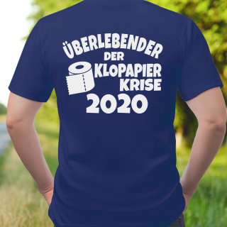Funnywords Überlebender der Klopapier Krise 2020 - Backprint - T-Shirt XS-5XL